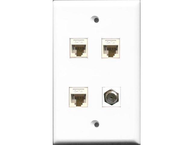 RiteAV 1 Port Coax Cable TV- F-Type 3 Port Cat6 Ethernet