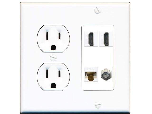 15 Amp Round Power Outlet 2 Port HDMI 1 Cat6 Ethernet Coax