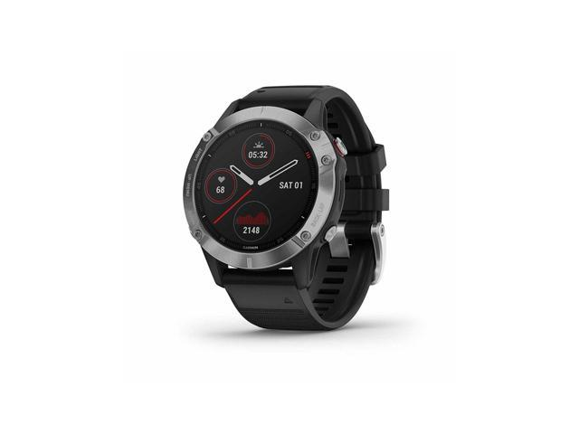 Garmin Fenix 6, Premium Multisport GPS Watch, Heat and Altitude Adjusted V02 Max, Pulse Ox Sensors and Training Load Focus (Silver with Black Band)