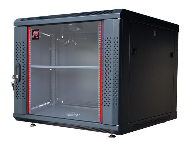 9u server rack cabinet enclosure fully equipped accessories free vented shelf cooling fan hardware feet wall mount 24 deep 4 sides lockable