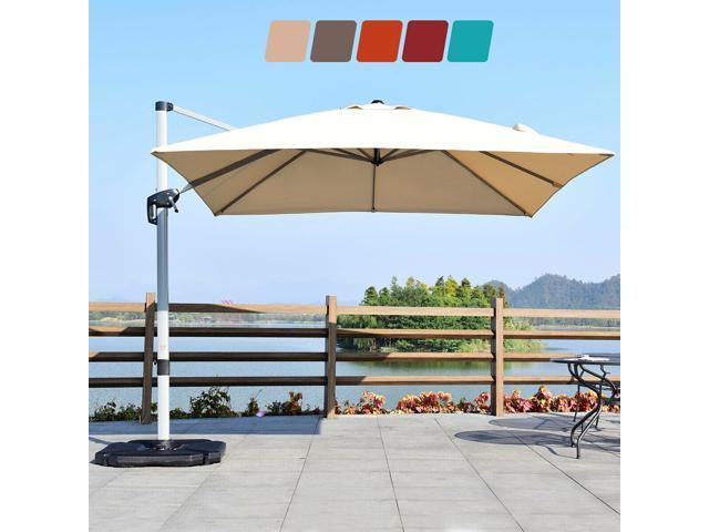 10ft patio offset cantilever umbrella 360 rotation aluminum w base beige