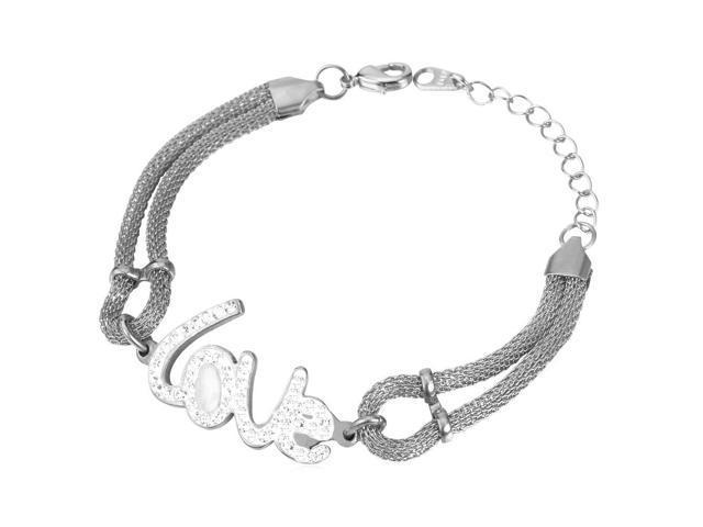 U7 INOX Stainless Steel Bracelet Letter Love Charms 18K