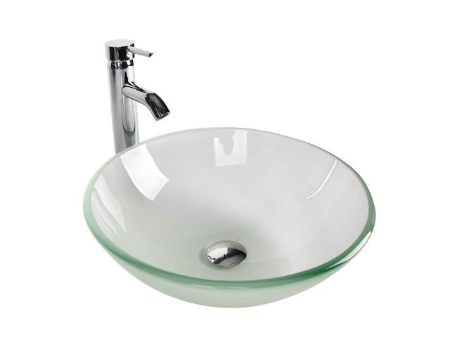 Elecwish Tempered Glass Vessel Bathroom Vanity Sink Combo Round Bowl Chrome Faucet Pop Up Drain Combo Frosted Clear 16 5 Dia Newegg Com