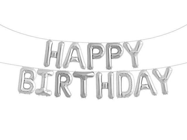 Happy Birthday Balloons Foil Letters Mylar Balloons Silver