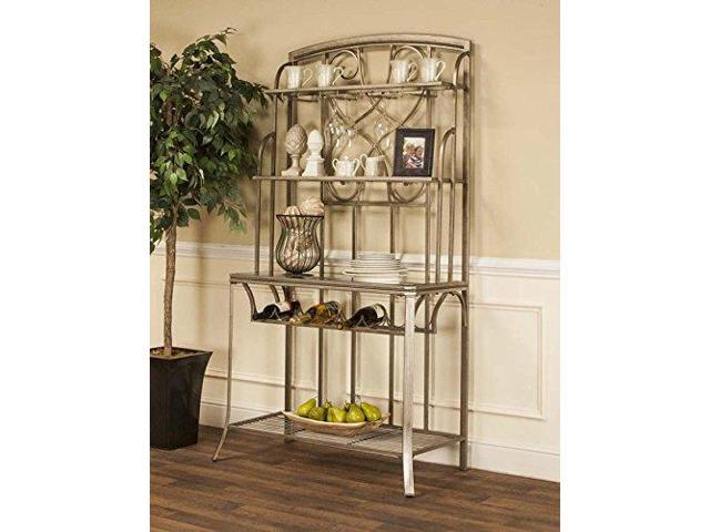 asti bakers rack in antique bronze with wine and stemware storage