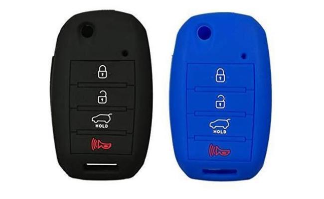 Black LemSa 2Pcs 7 Buttons Soft Silicone Key Fob Cover Case Protector Holder for Honda Odyssey Elite Ex 2018 2019 2020 KR5V1X KR5V2X