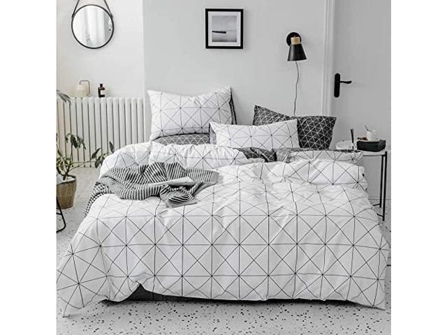 premium cotton plaid full bedding sets white 3 piece men boys queen geometric duvet cover set reversible checkered kids comforter cover queen