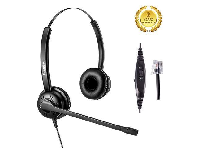 Office Telephone Headset RJ9 Jack with Pro Noise Canceling