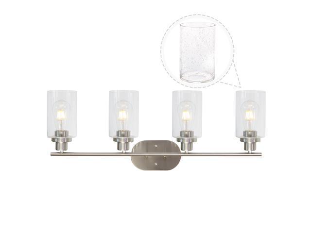 Vinluz Modern 4 Lights Wall Lighting Fixtures In Brushed Nickel For Bathroom Hallway Bar Vanity Light With Seedy Glass Shades Newegg Com