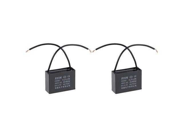 2 Wire Cbb61 Ceiling Fan Capacitor 5uf 450v Ac Metallized Polypropylene Film Capacitors 2pcs