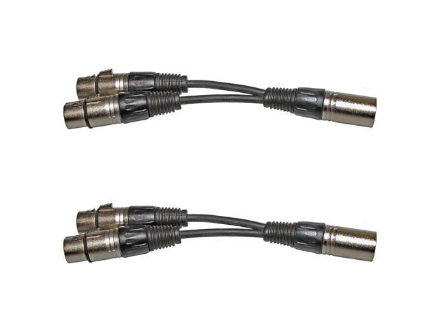 2 LOT PACK XLR-M male TO DUAL XLR-F female Y-CABLE