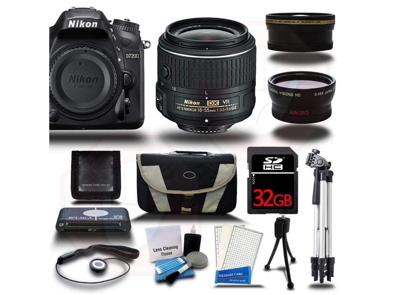 Nikon D7200 DSLR Camera Body 13PC 3 Lens Kit Bundle + 18-55mm VR + Wide-Angle + Tele Photo + 32GB + Card Reader + Case & More New - Newegg.com