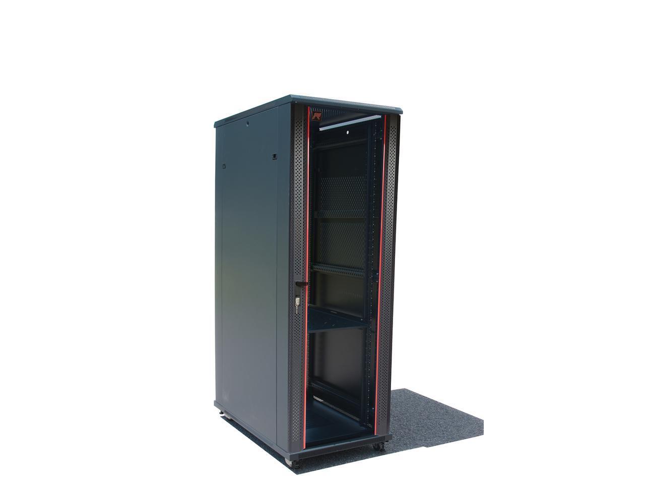 32u 39 depth it telecom server rack cabinet glass door air control panel 4fans 1pdu 1 shelf free