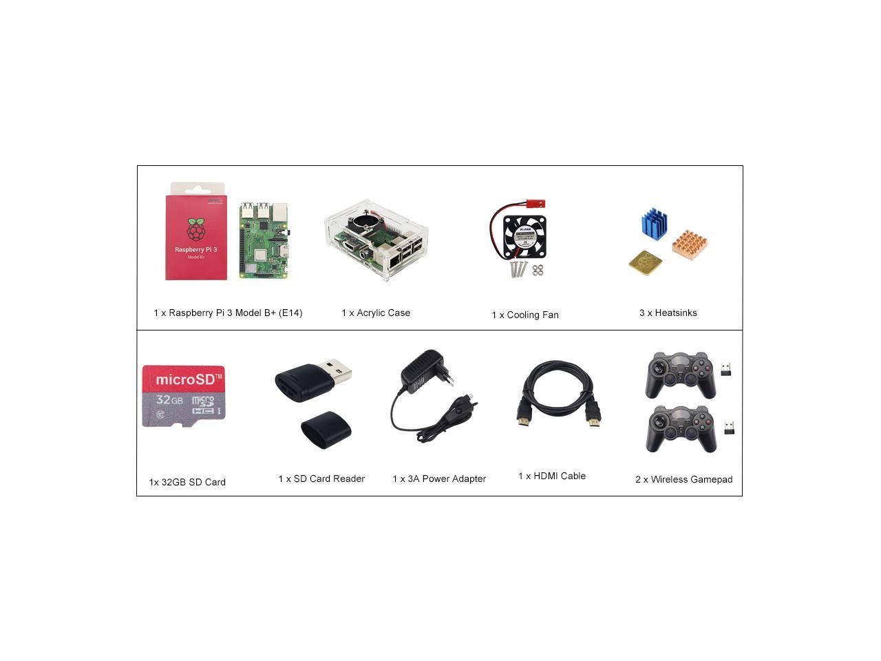 Raspberry Pi 3 Model B Plus Game Kit Wireless Gamepads