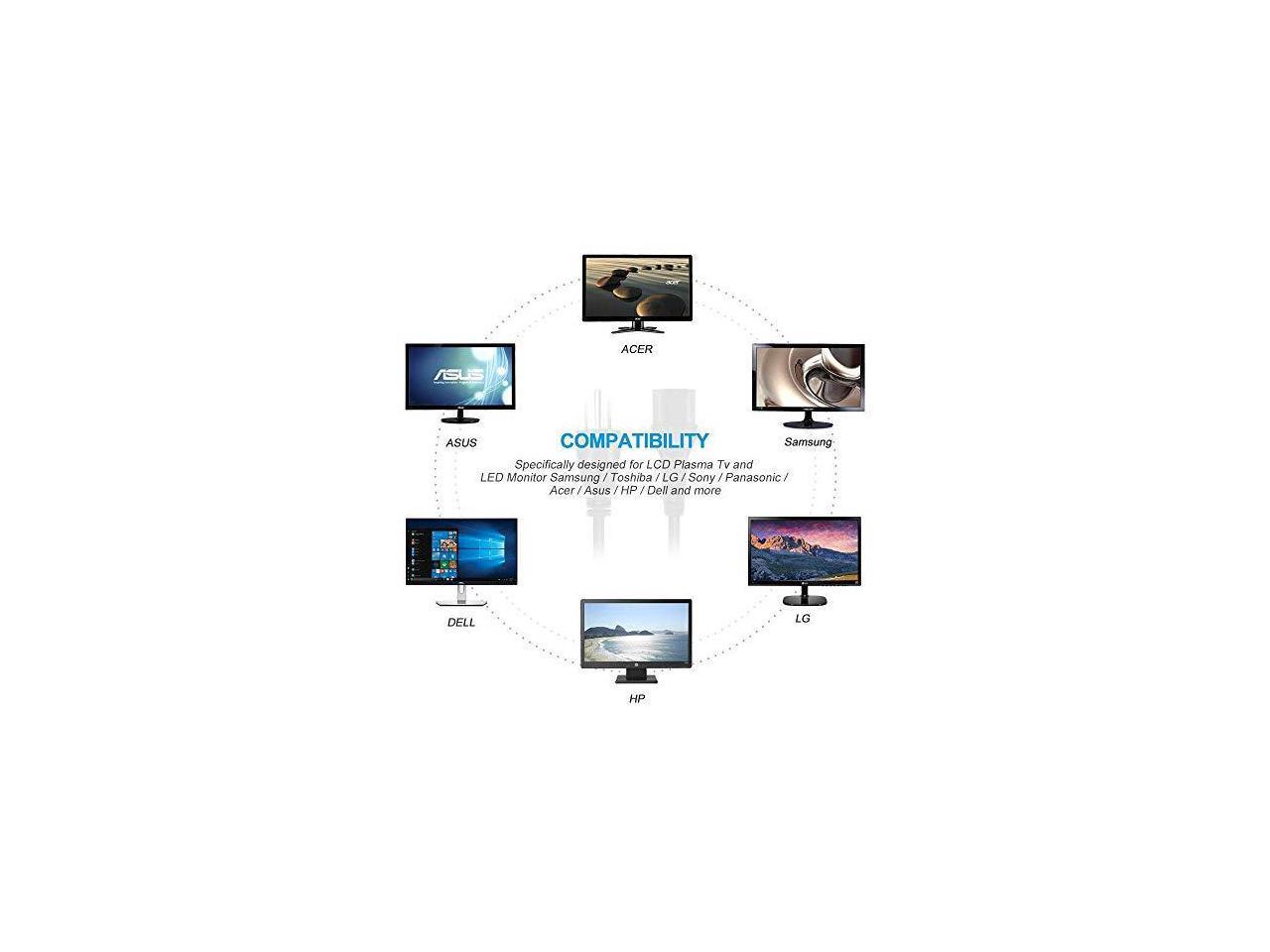 Ul Listed 18 Awg Ac Cable 3 Prong Plug Universal Lcd