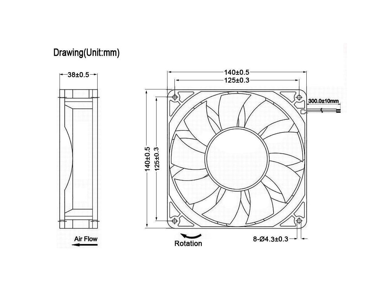 GDSTIME 140mm x 38mm 12V Dual Ball Bearings Brushless Dc
