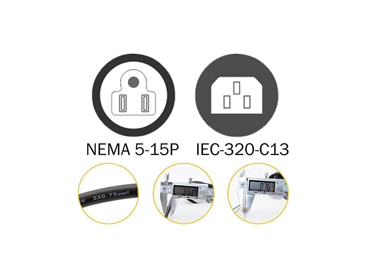 4 Ft 12m Iec 3 Prong C13 Power Cord Nema 515p To