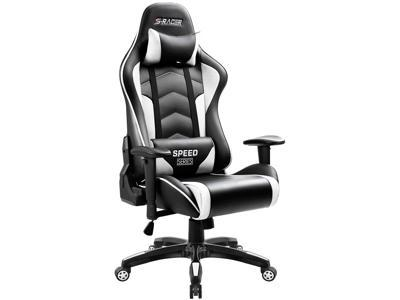 black computer chair bayside office newegg com homall gaming thickened high back and bucket seat carbon pu leather swivel