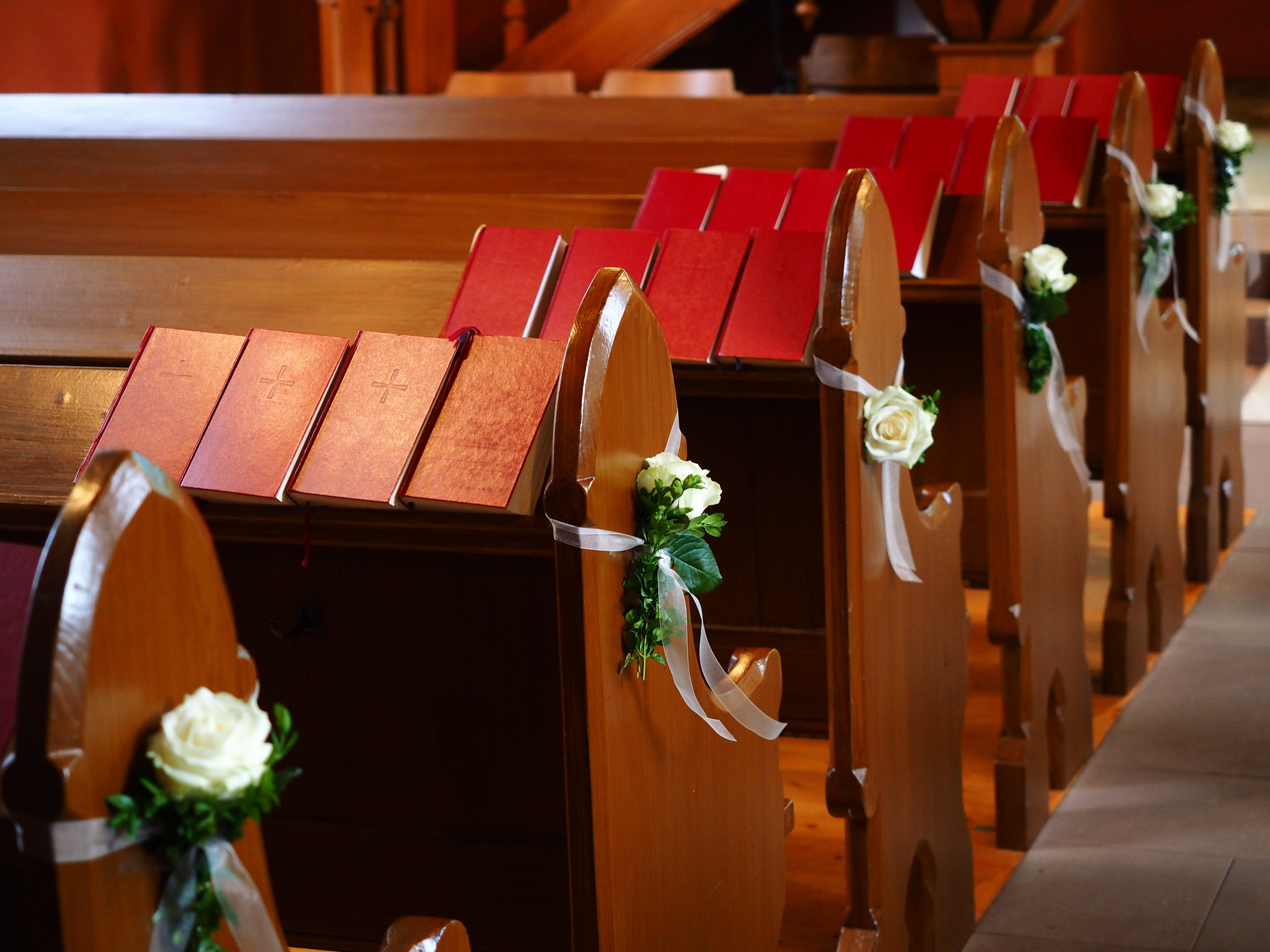 benches roses church pews