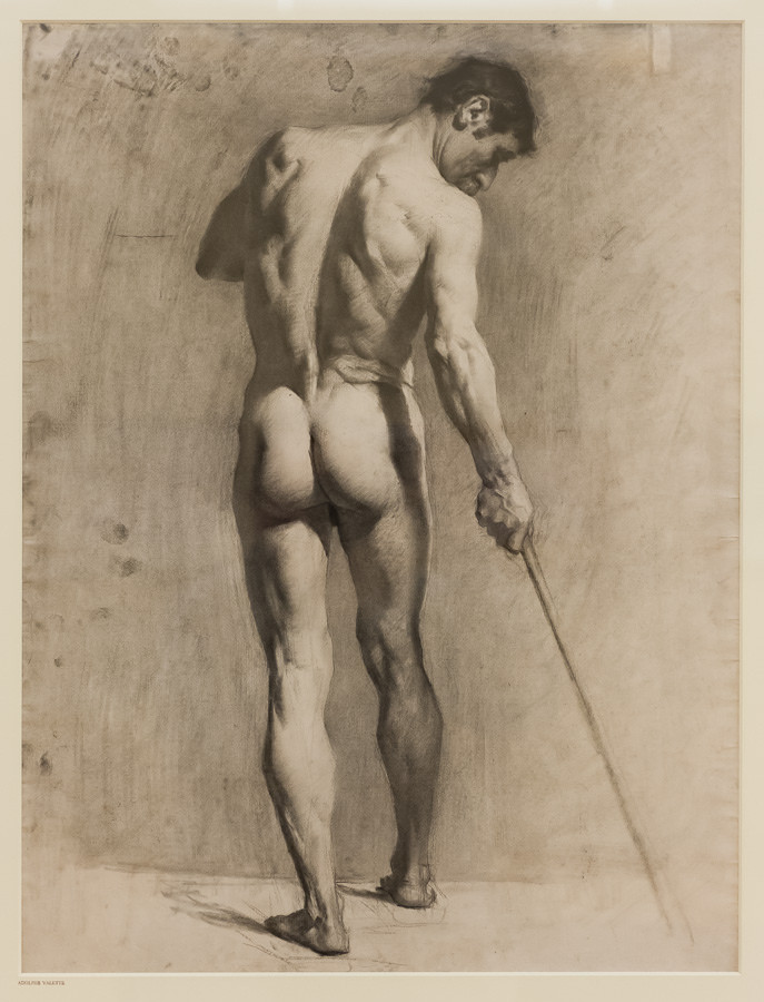 """""""Life drawing of a male nude with a cane"""" (Adolphe Valette), Manchester Art Gallery, Manchester"""