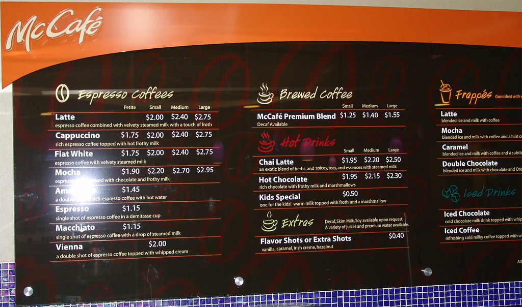 McCafe menu  A little cheaper than Starbucks  Niall