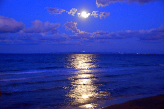 3d Island Wallpaper Moonlight Over The Sea A Full Moon Directly Above