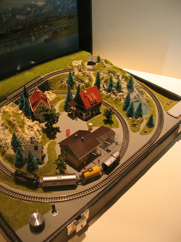 briefcase train  A very small toy train set in a