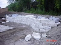 Chopped stone retaining wall