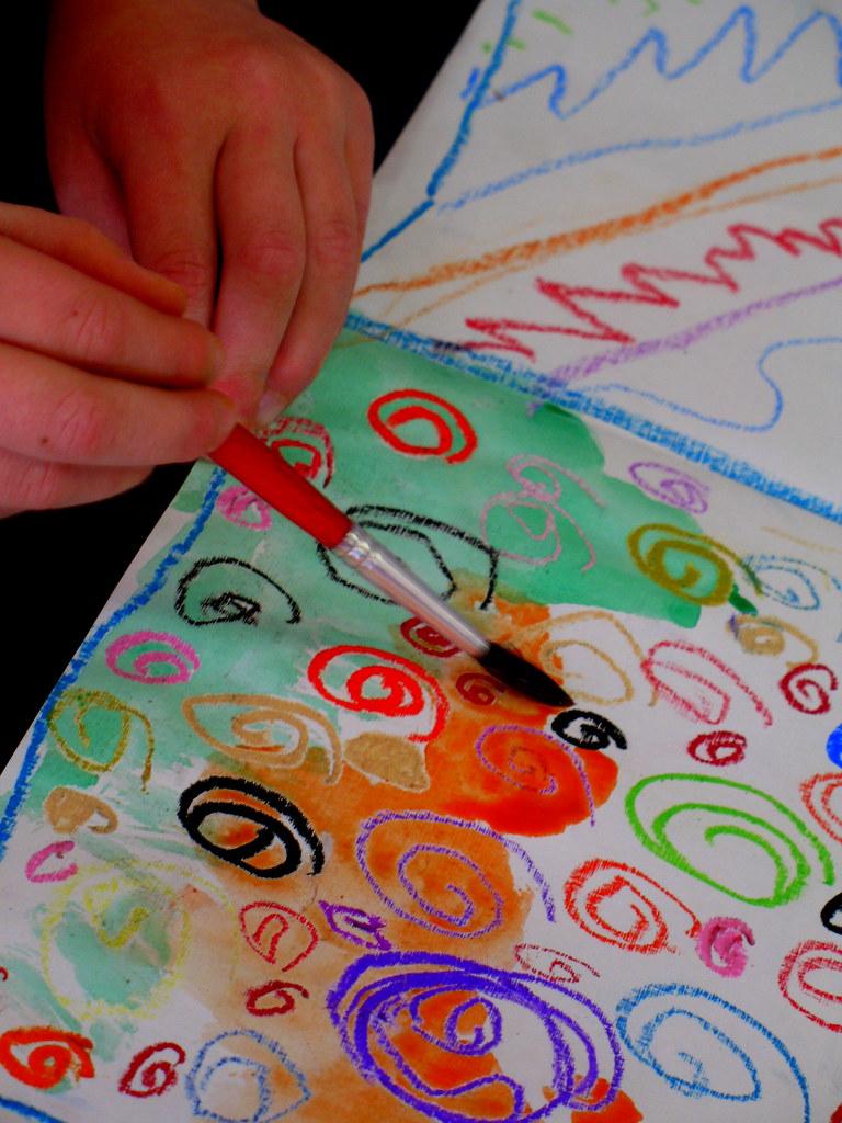 oil pastel watercolor resistkindergarten  this is my al  Flickr