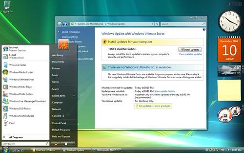 Windows Vista 6000 RTMStart Menu Windows Update  About