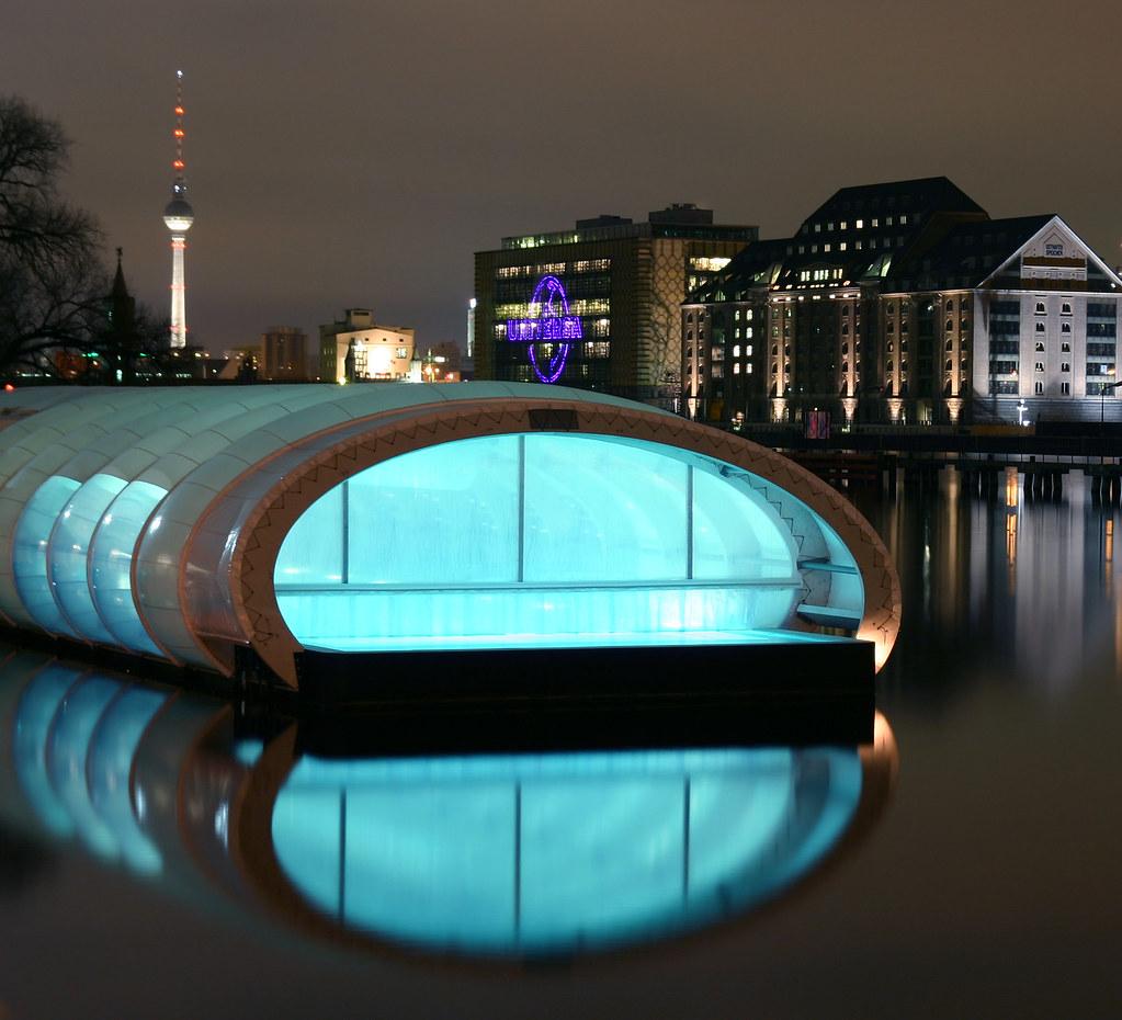 Badeschiff  The Badeschiff in Berlin Treptow at night