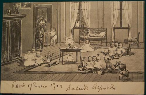 Vintage Christmas Krampus Postcard With St Nicholas In Wi