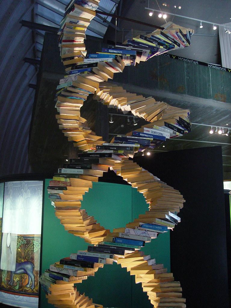 Doble Hlice de ADN hecha de libros  La construccin es