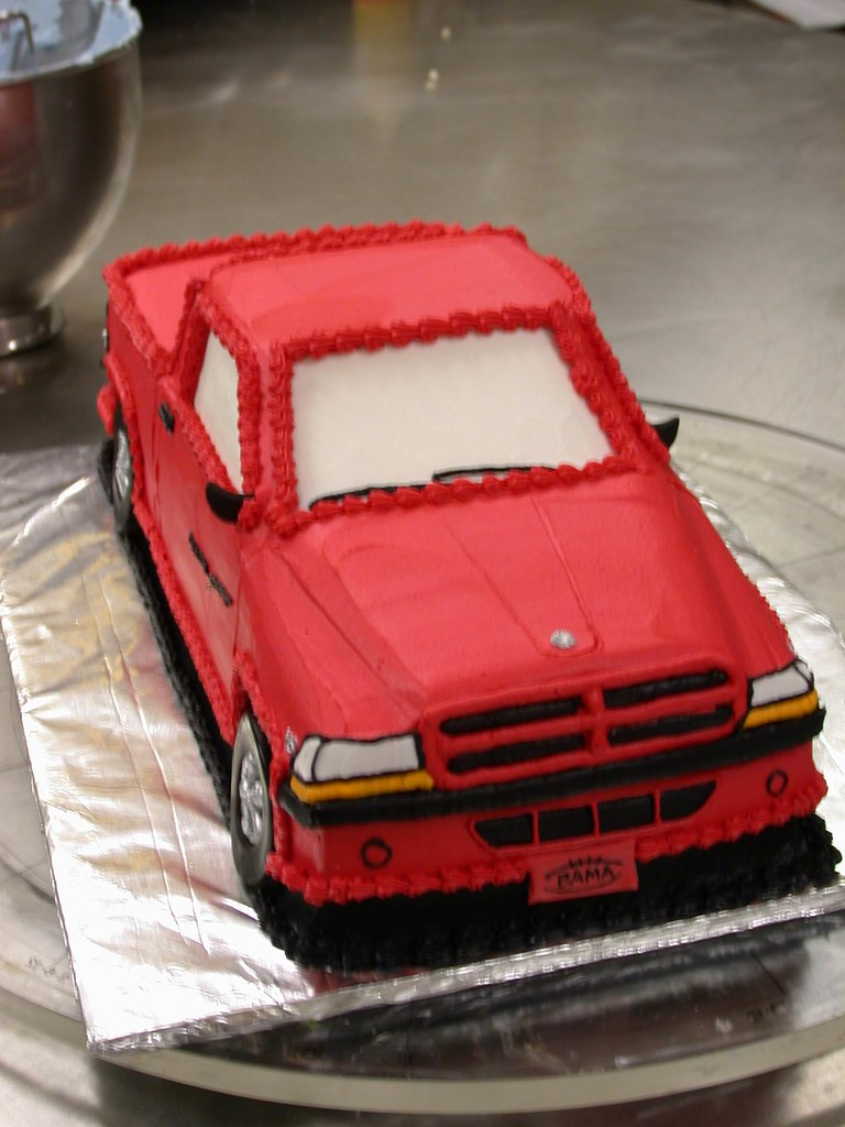 dodge ram trailer wiring diagram 6 way grooms cake red truck front view closeup | ta dah cakes flickr