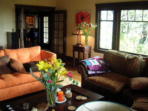 Colorful living room on a rainy day  Note the new quilt