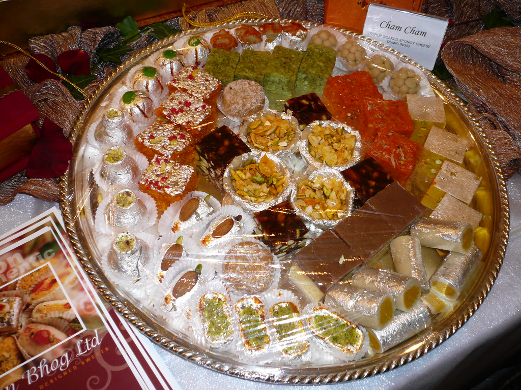 Decorated mithai platter  The silver surrounding and