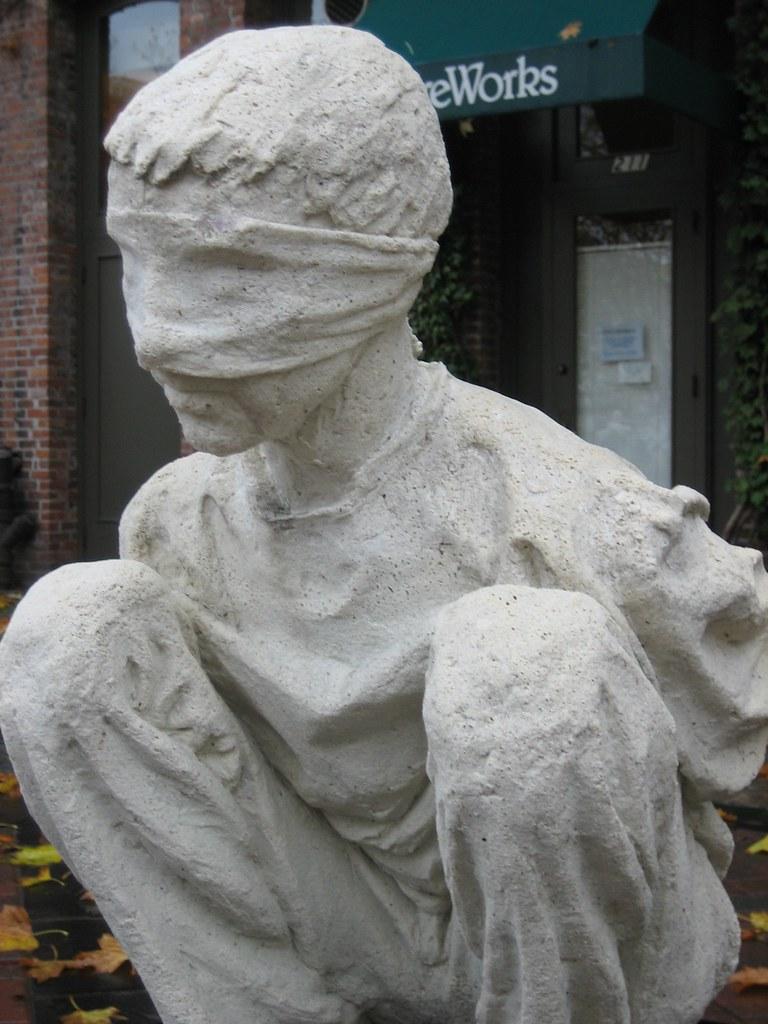 Iraqi Salt Statue Pioneer Square Blindfolded Third Of
