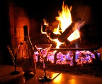 Open Fire and Wine   A romantic night with a open fire and ...