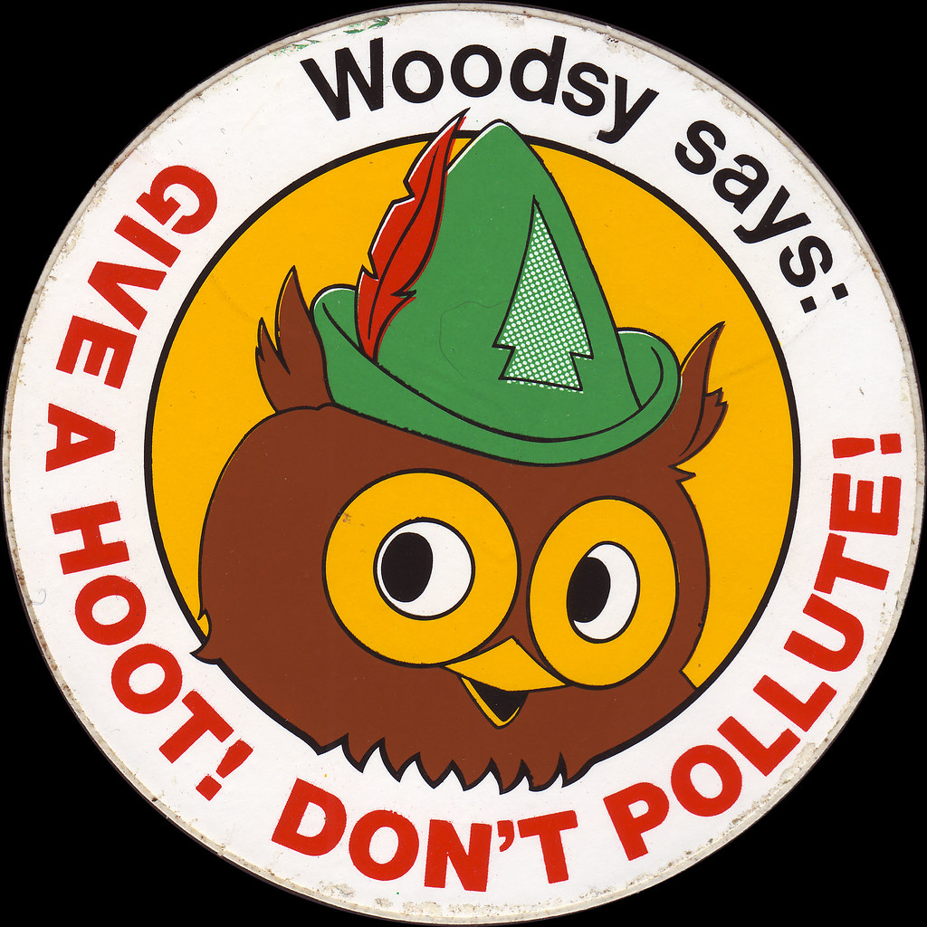 Woodsy Owl Sticker  1970s  Give a Hoot  head shot  Flickr