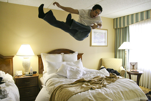 Bed Jump  Having some fun on the comfy beds at Marriot