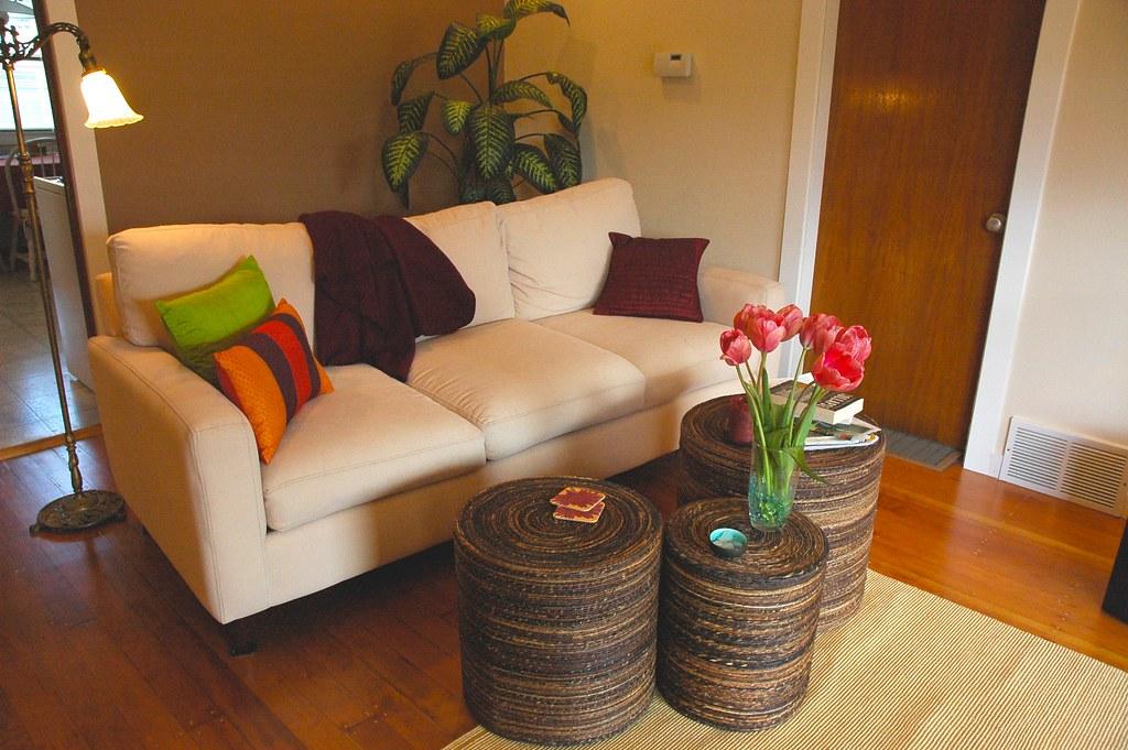 Peggys Zen living room makeover white sofa pink tulips  Flickr