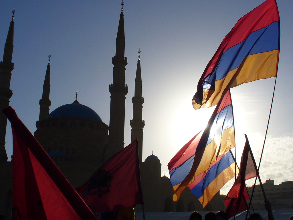 3d Wallpaper With White Background Armenian Flags With Mosque Background Armenians