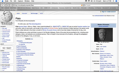 Wikipedia Vandalism Example Vandalism On The Plato Page