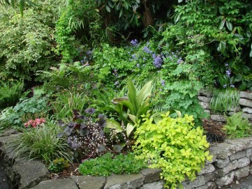 Shade gardens provide a great retreat. Design with leaf variety in mind to create visual interest. Photo Credit: edgeplot