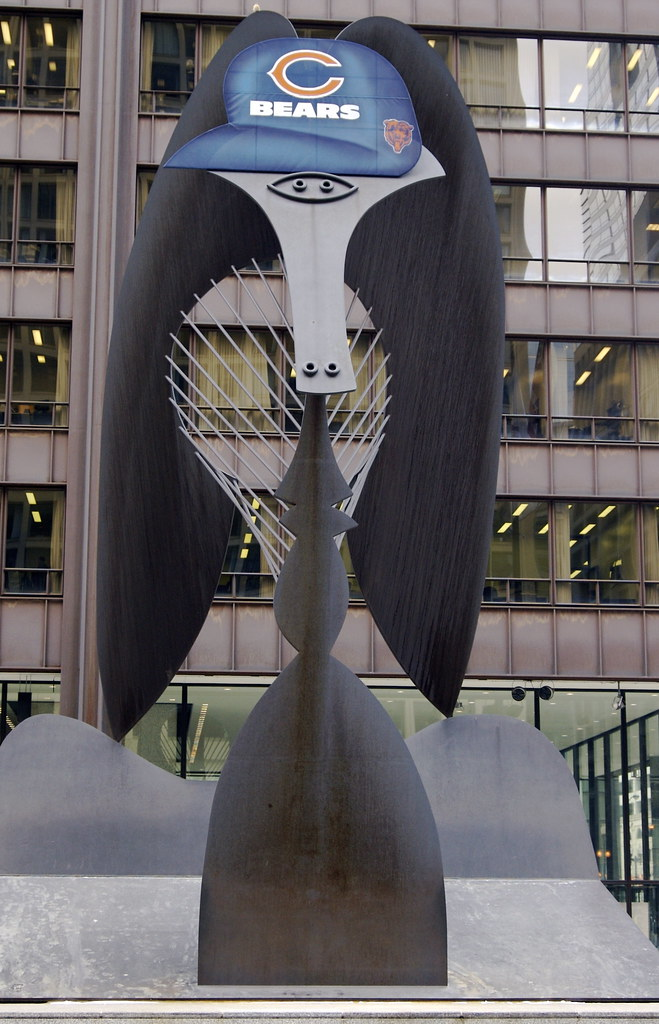 Daley Plaza Picasso sculpture displaying Chicago Bears Pri
