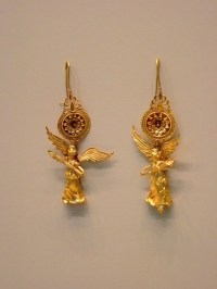 Gold Earrings with Nike Pendant Greek 225