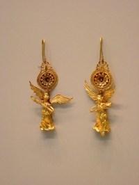 Gold Earrings with Nike Pendant Greek 225-175 BCE ...