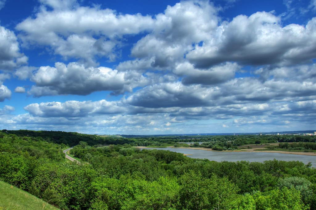 flying clouds over minnesota river valley  The highway to