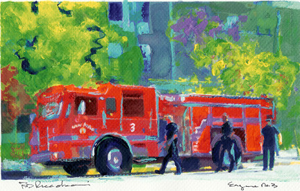Painting by RD Randy Riccoboni Fire truck in Little Italy   Flickr
