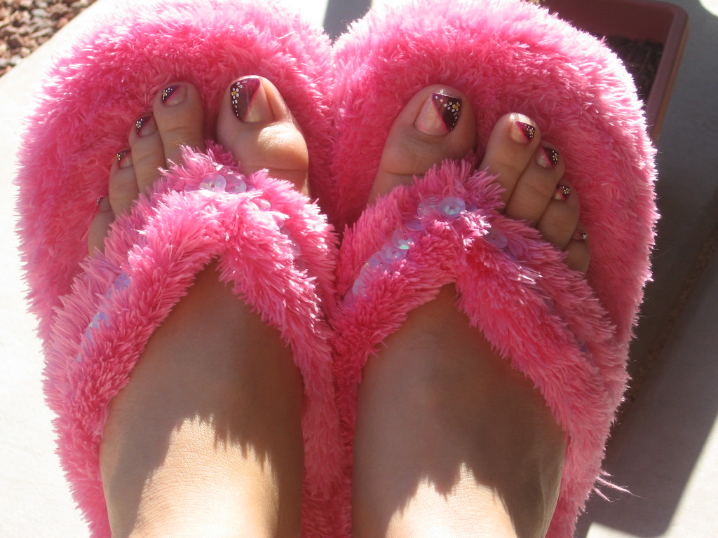 My new fuzzy pink slippers  Hope bought me these slippers